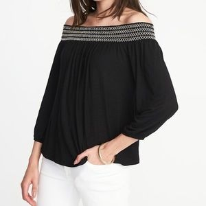 Black over the shoulders top